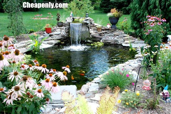 ... Garden Waterfall Patio With Koi Pond